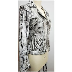 NWOT XL Black White Leather Graffiti Zip Jacket